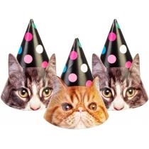 Набір Funny Cats з 6 ковпаків на голову із гумовою стрічкою, дизайни асорті