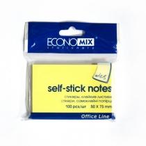 Стикеры Economix, 50х75, желтые, 100л.
