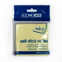 Стикеры Economix, 75х75, желтые, 100л.
