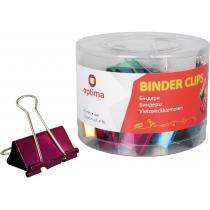 Біндери для паперу 41 мм Optima, кольорові, в пласт. тубусі, 24 шт.