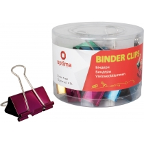 Биндеры для бумаги 51 мм Optima, цветные, в пласт. тубусе, 12 шт.