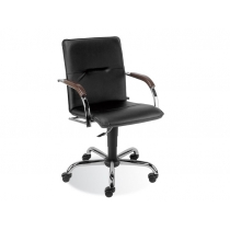 Кресло SAMBA GTP V-14 1.031, иск. кожа, черный, метал. хром. база, дерев. подлок.