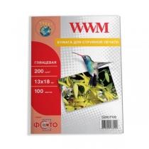 Фотобумага WWM 13х18см, глянцевая, 200 г/м2, 100 л.