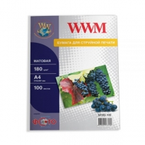 Фотобумага WWM A4, матовая, 180 г/м2, 100 л.