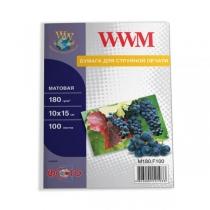 Фотопапір WWM 10х15см, матовий, 180 г/м2, 100 арк.
