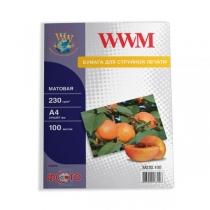 Фотобумага WWM A4, матовая, 230 г/м2, 100 л.