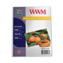 Фотобумага WWM 10х15см, матовая, 230 г/м2, 100 л.