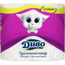 Туалетная бумага 2 слоя ДИВО Эконом 4 рулона, белая