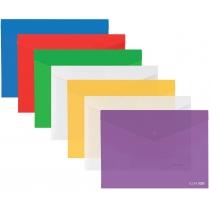 Папка-конверт А3 прозрачная на кнопке, ассорти(Е31317)