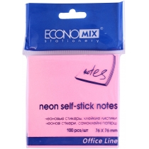 Стикеры Economix, 75х75, розовые, 100л.