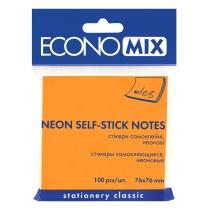 Стикеры Economix, 75х75, оранжевые, 100л.