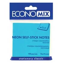 Стикеры Economix, 75х75, голубой, 100л.