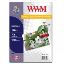 Фотобумага WWM A4, матовая, 120 г/м2, 100 л.