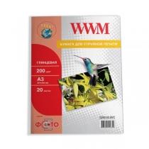 Фотобумага WWM A3, глянцевая, 200 г/м2, 20 л.