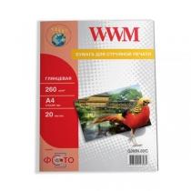 Фотобумага WWM A4, глянцевая, 260 г/м2, 20 л.