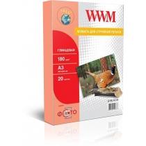 Фотобумага WWM A3, глянцевая, 180 г/м2, 20 л.