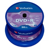 Диск DVD+R  Cake, 4.7Gb, 50шт, 16х VERBATIM