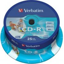 Диск CD-R Verbatim Printable 700 Mb, 25шт, 52x