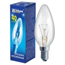 Лампа свеча 40W E14 В36 прозрачная, ИСКРА