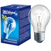 Лампа стандартная 40W Е27 А55 прозрачная, ИСКРА
