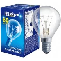 Лампа сфера 60W Е14 PS45 прозрачная, ИСКРА