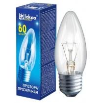 Лампа свеча 60W E27 В36 прозрачная, ИСКРА