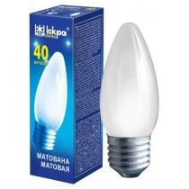Лампа свеча 40W Е27 В36 матовая, ИСКРА
