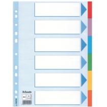 Разделители Esselte картонные цветные, А4, 6 разделов