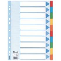 Разделители Esselte картонные цветные, А4, 10 разделов