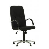 Кресло MANAGER STEEL CHROME, SP-A, с элементами кожи, черное, Украина
