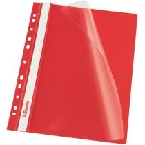 Скоросшиватель Esselte VIVIDA А4 с прозрачным верхом и перфорацией, красный, 10 штук
