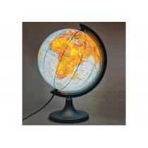 Глобус физический/политический лакированный с двойной картой, с подсветкой, пластиковая подставка
