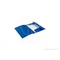 Папка А4 пластиковая на резинках, синяя