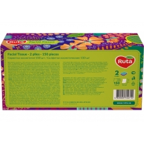 Серветки паперові RUTA, 2 шари, 20 х 21 см, 100 + 50 шт, коробка прямокутна