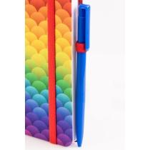 Деловая записная книжка Rainbow, А5, твердая обложка текстиль, резинка, блок клетка