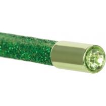 Олівець чорнографітний HB зелений з металевим топом та кристалом, покриття з блискіток