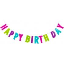 Гірлянда-банер з блискітками Happy Birthday, 2 м зі стрічкою
