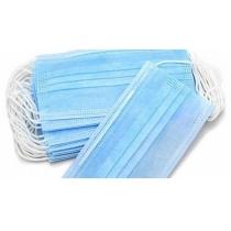 Маска медична тришарова, сертифікована, голубого кольору, з фіксацією. Українське виробництво.