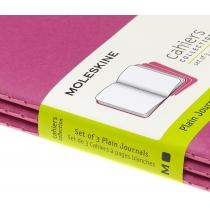 Набір зошитів (3 шт.) Moleskine Cahier 9 х 14 см / Нелінований Кінетичний Рожевий