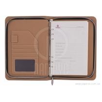 Бизнес-организатор на молнии, 133 * 216 мм, на кольцах, коричневый, бумага 80 г/м2, кремовый