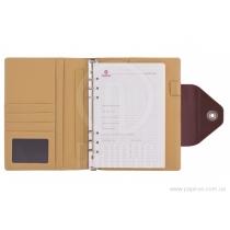 Бизнес-организатор кнопки, 135 * 185 мм, на кольцах, коричневый, бумага 80 г/м2, кремовый